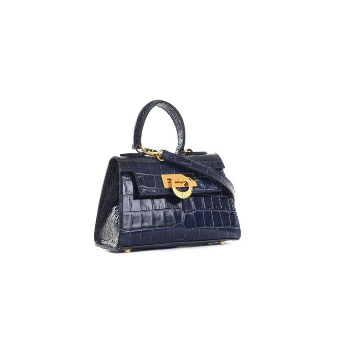 Leather mini bauletto matisse lux blue - LICIA 241