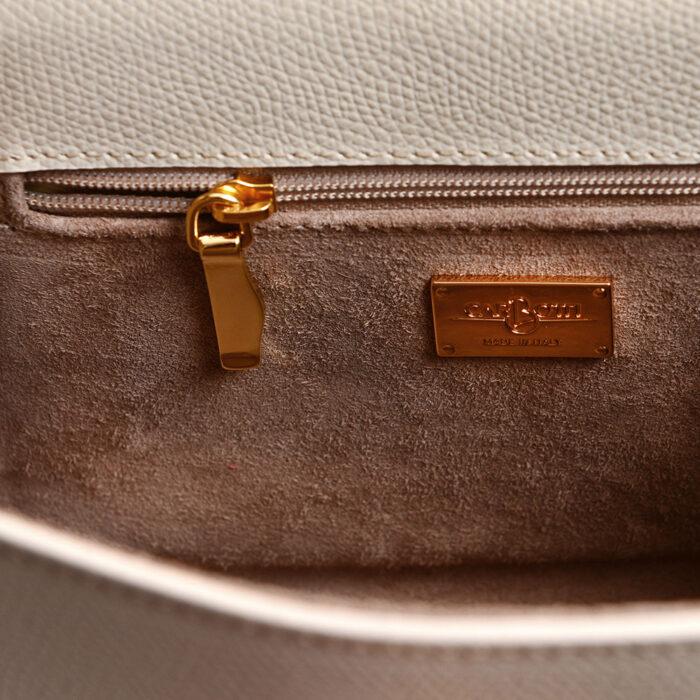 Leather mini bauletto palmellato beige - LICIA 241