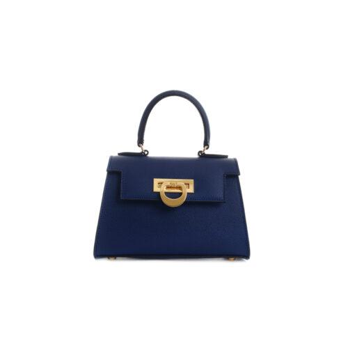 Leather mini bauletto palmellato blue - LICIA 241