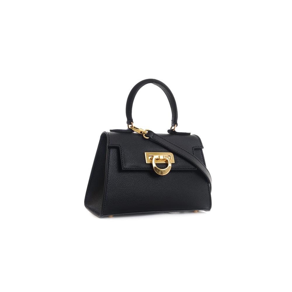 Leather mini bauletto palmellato black - LICIA 241