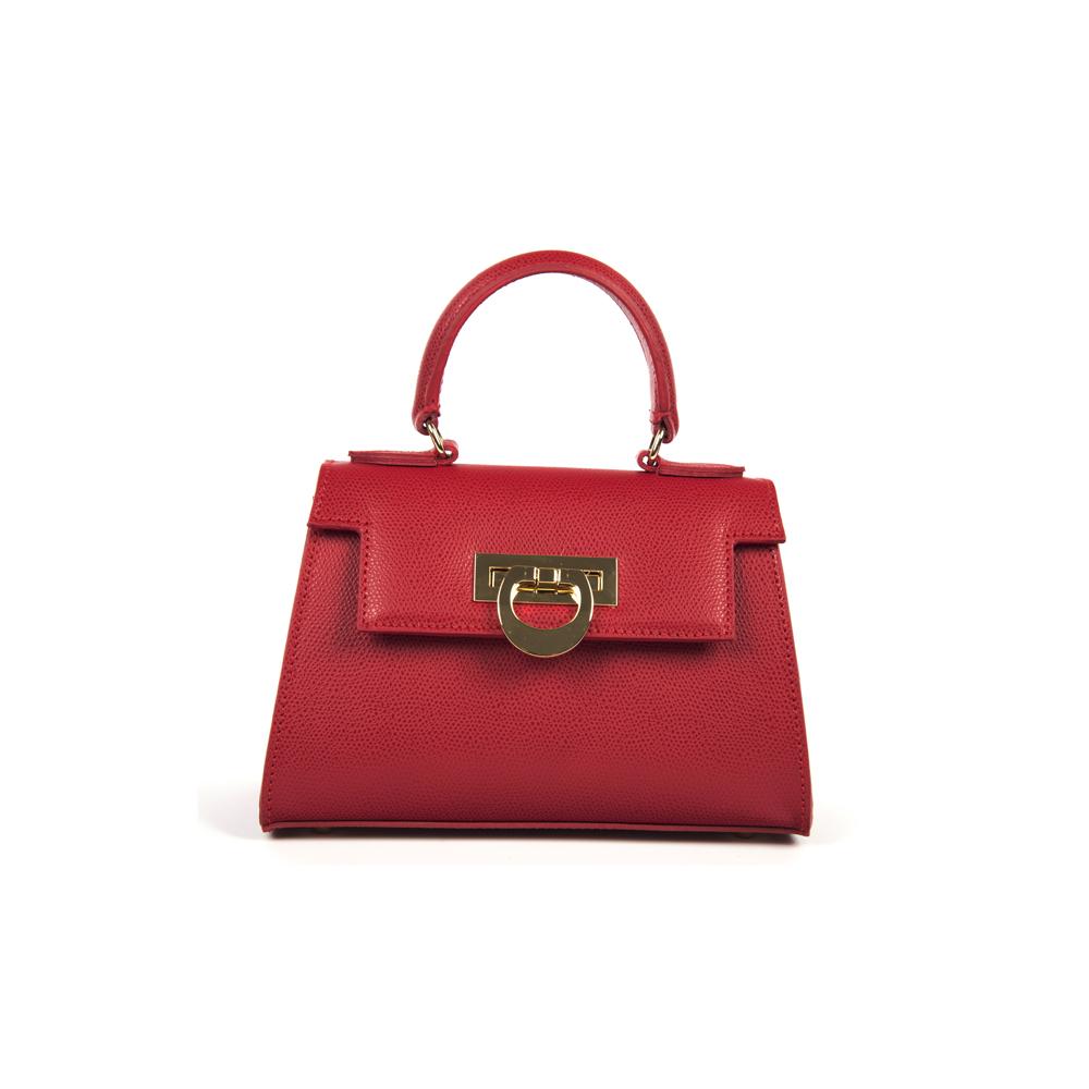 Leather mini bauletto palmellato red - LICIA 241