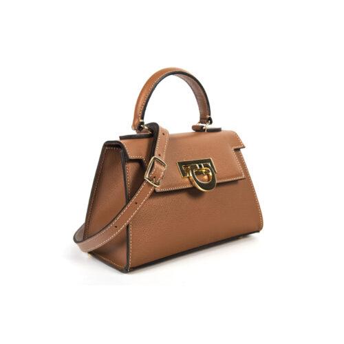 Leather mini bauletto palmellato tan - LICIA 241